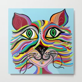 Grinning Cat Metal Print