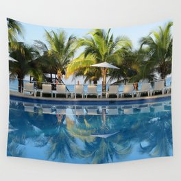 Tropical Ocean Delight, Pool Side View Wall Tapestry
