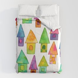 Home Sweet Home house illustration family parents housewarming gift grandparents Comforters