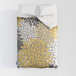 Modern Elegant Chic Floral Pattern, Soft Yellow, Gray, White Comforters