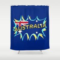 australia Shower Curtains featuring Australia by mailboxdisco