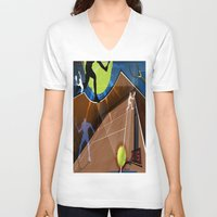 tennis V-neck T-shirts featuring Tennis by Robin Curtiss