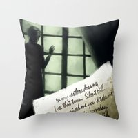 silent hill Throw Pillows featuring Waiting for you... - Silent Hill 2 by JeyJey Artworks