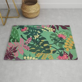 Purple Jungle Pattern - Kitschy Colorful Monstera and Palm Leaves Rug