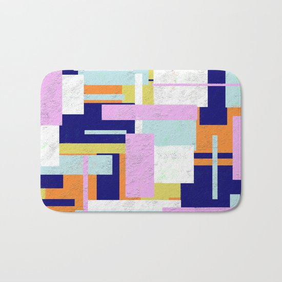 Pale Geometry - Abstract, textured, artwork Bath Mat