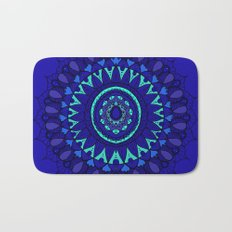 Hand- Drawn Bohemian Mandala in Sapphire Blue Bath Mat