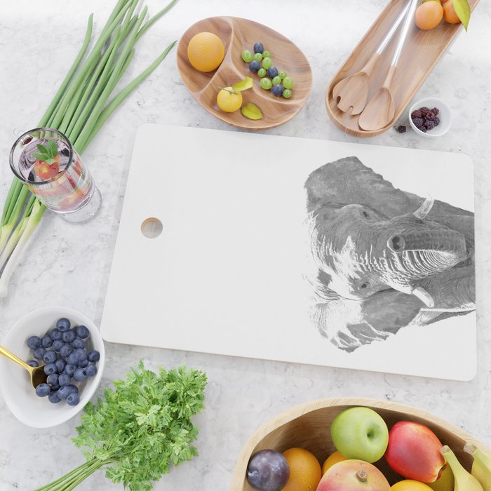 Black and white elephant illustration Cutting Board