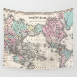 Vintage World Map from 1855 (Geographic Atlas of the World, America, Europe, Australia Map) Wall Tapestry