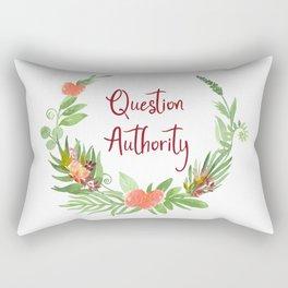 Question Authority - A Floral Print Rectangular Pillow