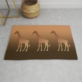 Modern Geometric Giraffe Copper and Brown Rug