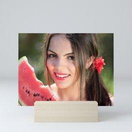 Sexy Woman With Watermelon Mini Art Print