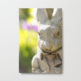 Garden Rabbit Portrait Metal Print