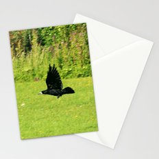black crow in flight Stationery Cards