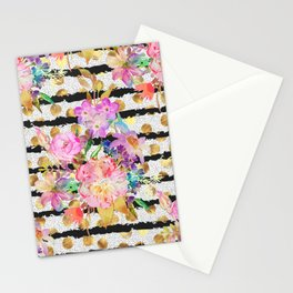 Elegant spring flowers and stripes design Stationery Cards