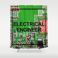 engineer Shower Curtains featuring Electrical Engineer by EEShirts