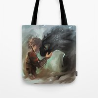 hiccup Tote Bags featuring hiccup & toothless by AkiMao