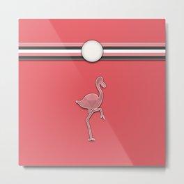 Flamingo Pink Argyle Stripes Pattern Animal Design Metal Print