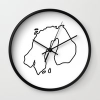 europe Wall Clocks featuring nothern europe by Lineamentum