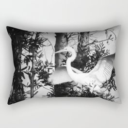 Great Egret In The Trees Rectangular Pillow