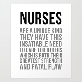 Nurses Are A Unique Kind, Nurse Quotes, Nurse Wall Art, Nurse Gifts, Hospital Decor, Clinic Decor Art Print