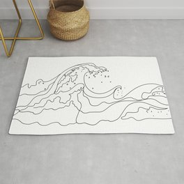 Minimal Line Art Ocean Waves Rug