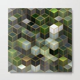 Cubes in Green Metal Print