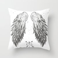 wings Throw Pillows featuring wings by Julia