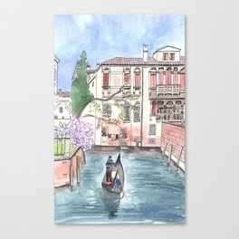 """Gondola in Venice"" Watercolor and Ink Illustration Canvas Print"