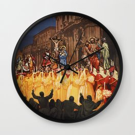Italian travel ad Christian Easter procession Trapani Wall Clock