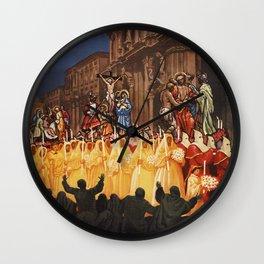 Italian travel ad Christian Easter procession Trapani Wall Clock