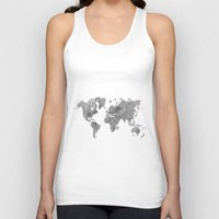 vintage map Tank Tops featuring World Map Black Vintage by City Art Posters