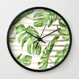 Simply Tropical White Gold Sands Stripes and Palm Leaves Wall Clock