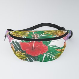 Colorful Pineapples and Tropical Hibiscus Flowers Fanny Pack