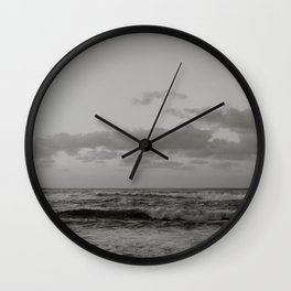 Pacific Ocean in Shades of Grey Wall Clock