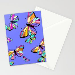 Modern Rainbow Colored Butterflies On Lavender Blue Stationery Cards