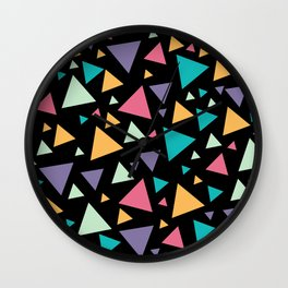 Memphis Milano style pattern with colorful triangles, multicolor triangle pattern print Wall Clock