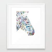zebra Framed Art Prints featuring Zebra by NKlein Design