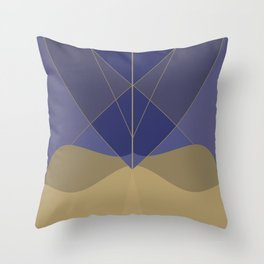 Indigo and Taupe Abstract Throw Pillow