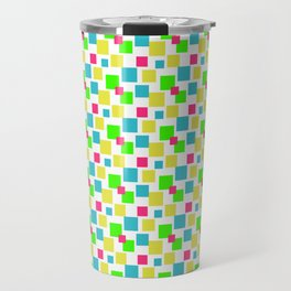 Multicolored square pattern, green yellow blue red square pattern, fashion pattern Travel Mug