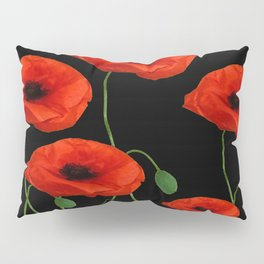 BLACK ART DECO RED POPPIES DESIGN Pillow Sham