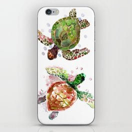 Turtles, Olive Green Cherry Colored Sea Turtles, turtle iPhone Skin