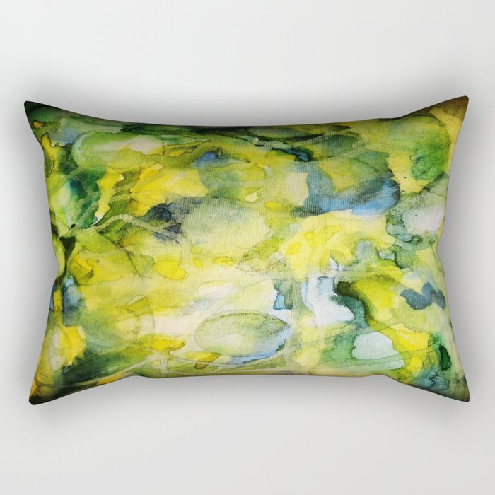 Spaced Out Watercolor Painting Rectangular Pillow