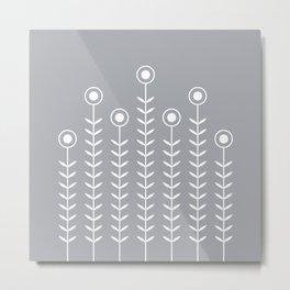 Minimalist Flowers (White on Dove Grey) Metal Print