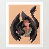 hiccup Art Prints featuring Hiccup & Toothless by Adam Vass