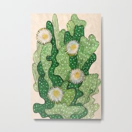 Blooming cactus, white & green, floral art Metal Print