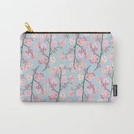 Cherry Blossom Pattern on Sky Blue Carry-All Pouch