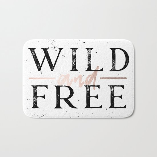 Wild and Free Rose Gold on White Bath Mat