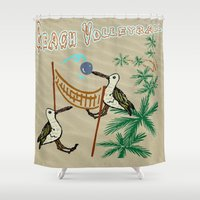 volleyball Shower Curtains featuring Beach Volleyball by Wired Circuit