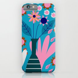 Hens in floral rain iPhone Case