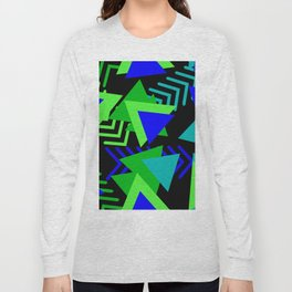 Abstract Triangles in Lime, Blue and Black Long Sleeve T-shirt